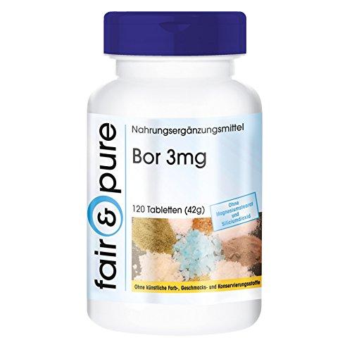 Bor 3mg (Boron) als Natriumtetraborat, vegan, Spurenelement, ohne Magnesiumstearat, 120 Tabletten, 4-Monatspackung