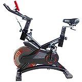 ISE Indoor Cycle Ergometer Heimtrainer mit Pulsmesser,LCD Anzeige,Armauflage,Pulsgurt&gepolsterte,13kg Schwungrad,Fitnessbike Speedbike mit flüsterleise Riemenantrieb-Fahrrad Ergometer 150Kg