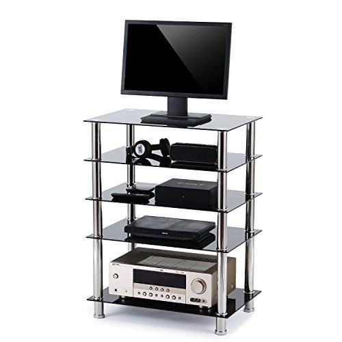 RFIVER Fernsehtisch Glas Tisch TV Rack B LCD TV/Hifi Möbel Fernseh-Rack Fernsehschrank TV Lowboard TV Standfuss Hifi-Schrank DVD-Regal mit 5 Ablagen in der Farbe schwarz