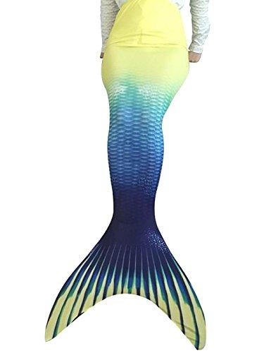 Flyhigh meerjungfrauenflosse für Kinder Badebekleidung mit Schwimmflosse Mermaid (145-155cm, A4212-Gelb)