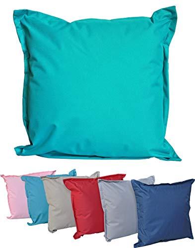 JACK XL Outdoor Lounge Kissen 52x52cm Dekokissen Garten Wasserfest Sitzkissen mit Steg Reißverschluss Lotus Effekt, Farbe:Petrol