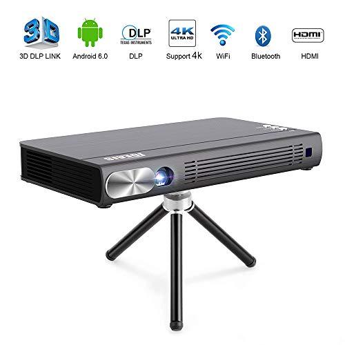 JOEAIS Mini Beamer, WiFi 3D DLP Tragbar Projektor 300 Zoll Bild BT4.0 Unterstützung 1080P HD 4K HDMI USB Kompatibel mit Android, iPhone, PC, TV Stick, Gamepads