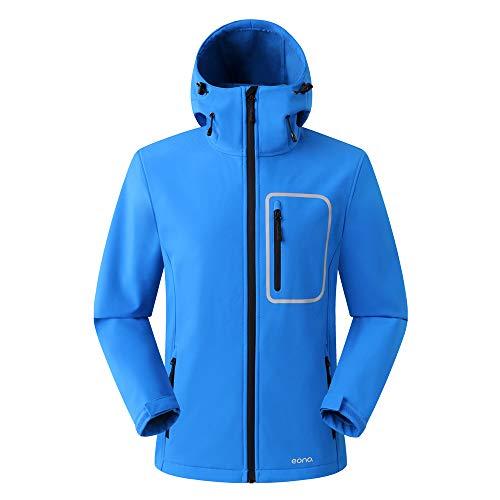 Amazon Marke: Eono Essentials Herren-Softshell-Jacke mit fester Kapuze (Fallschirmspringerblau, S)|Winterjacke herren