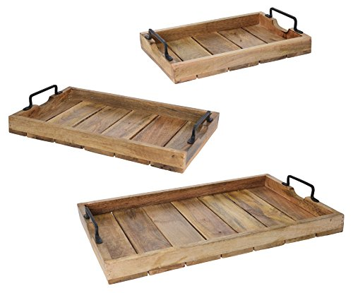 Meinposten Tablett Dekotablett Holz Mango braun Holztablett Deko Kerzentablett Dekoration (38 x 25,5 cm)