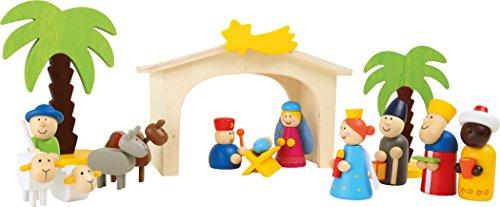 Weihnachtskrippe aus Holz, Spiel Set mit bunten Spielfiguren und Palmen aus Holz, ab 3 Jahre