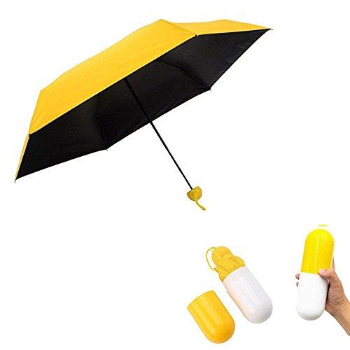 Pawaca Ultra Leicht und Klein Anti-UV Mini Reise Regenschirm mit Kreativ Niedlich Kapsel Fall, 5 Faltbarer Kompakt Taschengröße Sonnenschirm Regenschirme für Frauen Mädchen Kinder