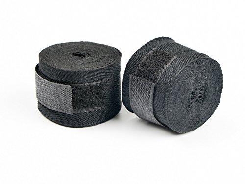 AYE Baumwolle Hand Boxbandage für MMA, Boxen, Kickboxen Muay Thai Taekwondo mit Klettverschluss, 4,5 Meter in Schwarz (1 Paar)