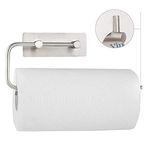 Homfa Küchenrollenhalter Ohne Bohren Küchenrollen Edelstahl Küchenpapier schwenkbarer Papierrollenhalter wandmontierter Papierrollenhalter für 1 Rolle selbstklebend 28,5cm