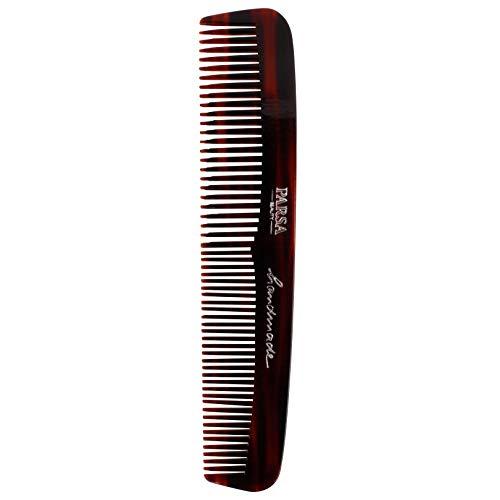 PARSA BEAUTY Haar-Kamm/Bartkamm 16,6 cm in Braun mit 2 Zahnungen fein & grob Handmade Made in Germany aus 100% recyceltem Kunststoff hergestellt