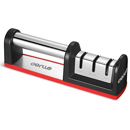 Dorlle Messerschärfer Messerschleifer , Messerschleifmaschine 3-stufig Messer Schärfwerkzeug hilft Reparatur, Diamant beschichtet Schärfen Rad System, rot