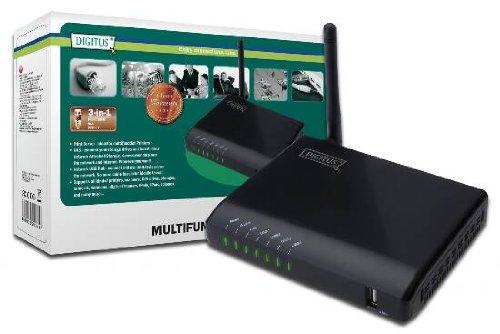DIGITUS Multifunktion USB Netzwerk Server, 4-port, Netzwerk USB Hub, NAS, Print Server USB 2.0, RJ45, Wireless LAN 11n, schwarz