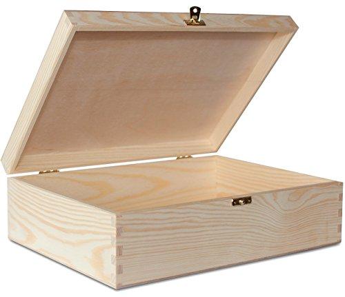 Creative Deco A4 Holzkiste mit Deckel Holzbox | 33,8 x 24,8 x 10 cm | Große Schatulle Holz Kiste Aufbewahrungsbox Spielzeugkiste Unlackiert Kasten | Ideal für Wertsachen, Spielzeuge und Werkzeuge