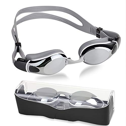 NEUFLY Schwimmbrille Schwimmbrillen Antibeschlag Spiegelbeschichtete UV-Schutz Verstellbar Gurt Unisex Schwimmbrille für Erwachsene Herren und Damen Jugend Kind - Silber Grau