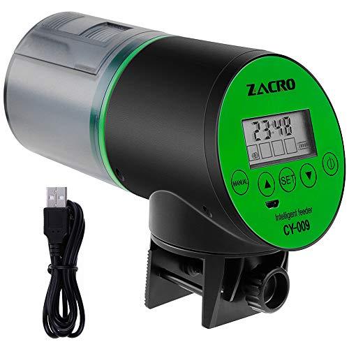 Zacro Automatisierte Futterspender für Fische Aquarium Futterautomat 200ml große Kapazität mit digitaler Timer