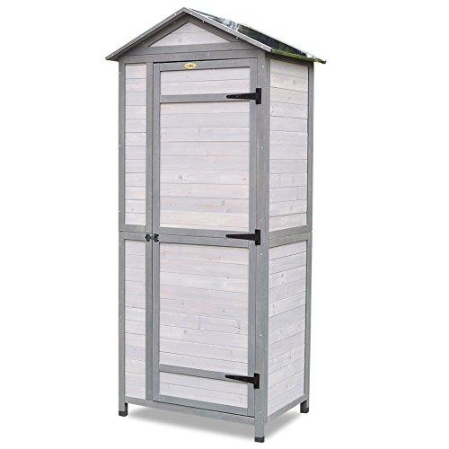 Habau Spitzdach mit Zinkblech Gartenschrank, Weiß/Grau