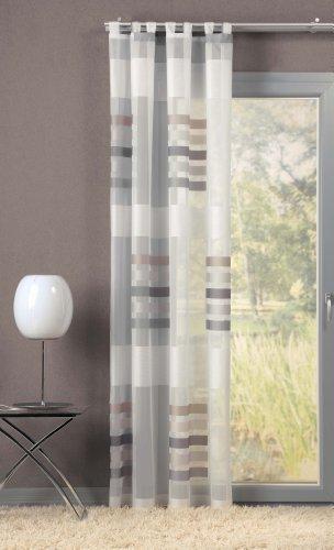 Attraktiver Schlaufenschal, Schlaufengardine mit auffälligen Blockstreifen Farbe:grau (225 x 140 cm)