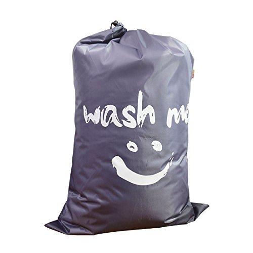 IHOMAGIC Wäschesack Kordelzug mit Reisen, Jumbo Größe waschen Tasche, faltbare Wäschesack, Nylon-Taschen-Gurt, Aufbewahrungstasche für College Dorm 61x92cm (blau-Lächeln)