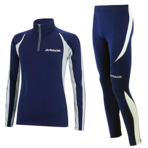 Airtracks Winter Funktions Laufset/Thermo Laufhose Lang Pro + Thermo Laufshirt Langarm Pro -Navy - M - Herren