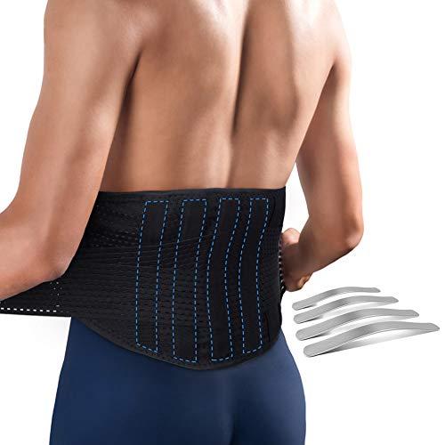 Rückenstützgürtel Lendenwirbel Rückenbandage Lendenwirbelstütze Rücken Gurt Rückenstütze mit Integrierte 4 Stahlstreifen zur Schmerzlinderung, zur Damen und Männer, Groß 33-44 Zoll
