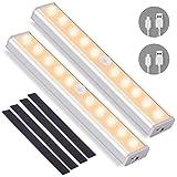 OUSFOT Schrankleuchte mit Bewegungsmelder Schrankbeleuchtungen LED Kabellos Kleiderschrank Nachtlicht mit 4 Magnetstreifen Warmweiß 2PC Verpackung MEHRWEG
