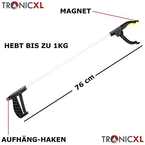 TronicXL 76cm Greifarm Hilfsmittel Dritte Hand Zange Greifhilfe Mit Haken & Magnet Greifer Greifzange Handgreifer Zange