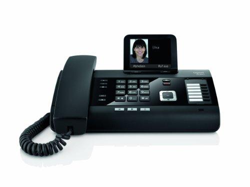 Gigaset DL500A Komfort Telefon -  Schnurgebundes Telefon / Schnurtelefon - Anrufbeantworter - Farbdisplay - Freisprechen / Dect Telefon - schwarz