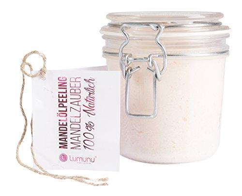 Deluxe 3in1 Creme Öl Peeling Mandelzauber (500g), 100% natürliches Körperpeeling mit Mandelöl, intensiv pflegendes Body Scrub für trockene Haut in edlem PET Bügelglas