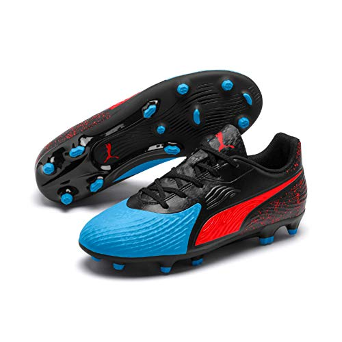Puma Unisex-Kinder ONE 19.4 FG/AG Jr Fußballschuhe, Blau (Bleu Azur-Red Blast Black), 37 EU