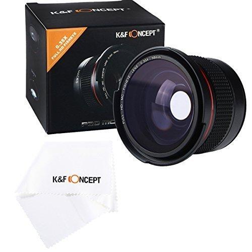 K&F Concept Fisheye Objektiv 58mm Fischaugenobjektiv 58mm 0.35X Super-Fischauge Weitwinkelobjektiv Aufsatz mit Makro für Canon Nikon DSLR Kamera mit Reinigungstuch