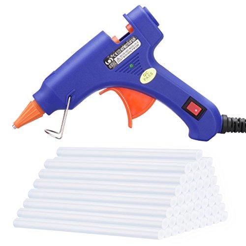 TOPELEK Mini Heißklebepistole mit 50stk Klebesticks Klebestifte, Schmelzende Klebepistole Set für Schule DIY Kunst und Handwerksprojekte, Hausreparaturen (20 Watt, Blau)