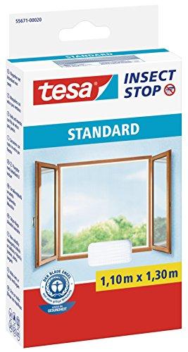tesa Insect Stop STANDARD Fliegengitter für Fenster/Zuschneidbares Moskitonetz in Weiß/110 cm x 130 cm
