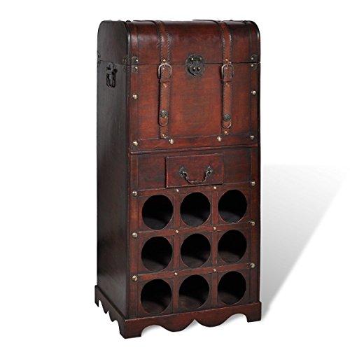 vidaXL Holz Weinregal 9 Ablagefächer für Flaschen Trunk mit Schublade Truhe
