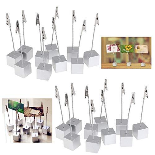 20 Stücken Memo Clip Halter Ständer Foto Clip Tabelle Tischkartenhalter für Hochzeit Party Dekoration Silber