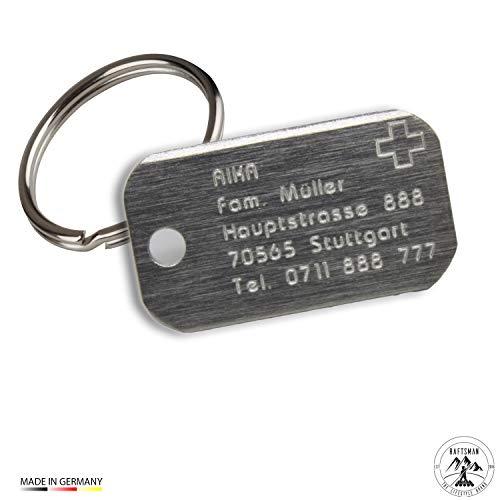 Raftsman Hundemarke mit Gravur - ID Tag - Adressanhänger - Adressschild - Individuelle - Personalisiert - Diamantgravur (Edel)