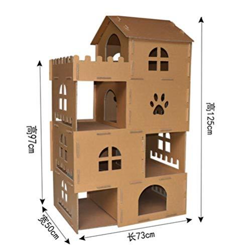 lili Katzenmöbel Kratzbäume Katze Eigentumswohnungen Spielhaus Katzenkratzer Schloss Carboard Baum Turm nach Hause Dropshipping, A