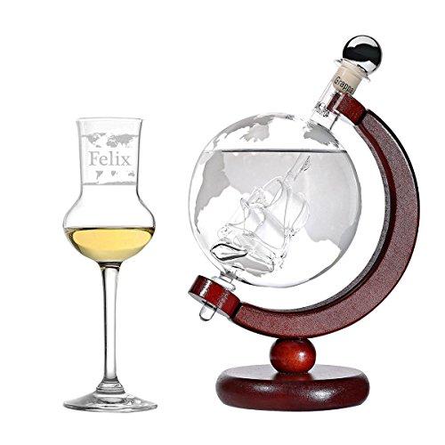 polar-effekt Grappa-Set Personalisiert - Flasche Welt Dekanter und Schiff Globus befüllt 500 ml Grappa - Grappaglas 87ml Grappakelch mit Gravur - Geschenkverpackung - Motiv: Weltkarte