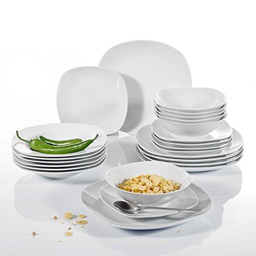 Malacasa, Serie Elisa, 24 teilig Set Cremeweiß Porzellan Tafelservice Kombiservice Geschirrset mit je 6 Speiseteller, 6 Dessertteller, 6 Suppenteller, 6 Schüsseln für 6 Personen