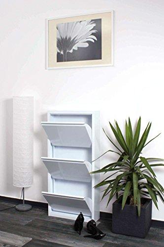 lifestyle4living Schuhkipper weiß aus Metall hat 3 synchron öffnende Klappen, schmaler Schuhschrank ist 15 cm tief und bietet Platz für bis zu 9 Schuhe