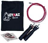 Leykaz Sports Springseil für Erwachsene Herren Damen,Premium Speed Rope,mit Kugellager, Rutschfeste gummierte Griffe,Stahlseil Länge einstellbar, mit extra Tasche und Einstiegsguide