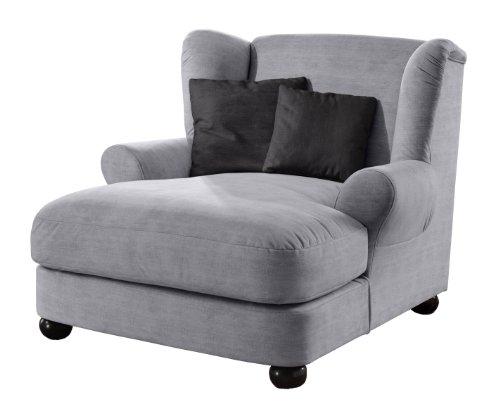 Cavadore XXL-Sessel / Grauer Polstersessel mit Kugelholzfüßen, großer Sitzfläche, Polsterung und 2 weichen Zierkissen / 120x100x145 (BxHxT)