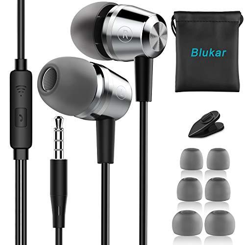 In-Ear Kopfhörer, Blukar Geräuschdämmende Ohrhörer Kopfhörer Stereo und HiFi-Klang, mit Weichen und Komfortablen Ohrstöpseln und Ideal für iPhone, iPad, Smartphone, MP3 Players usw.