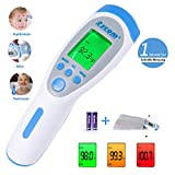 Fieberthermometer Stirnthermometer Kinder und Erwachsene, Digitales Medizinisch Kontaktlos Infrarot thermometer für Babys, Erwachsene, Objekte und Raum, 1 Sekunde Messzeit, Speicherfunktion