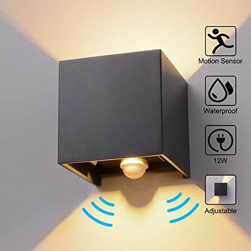 Wandleuchte Bewegungsmelder Aussen/Bewegungsmelder Innen LED Wandlampe, 12W Warmes Licht Wasserdicht Verstellbare Aussenlampe, Wandleuchte Sensor für Garten/Flur/Weg Veranda Hell-Eckig (Anthrazit)
