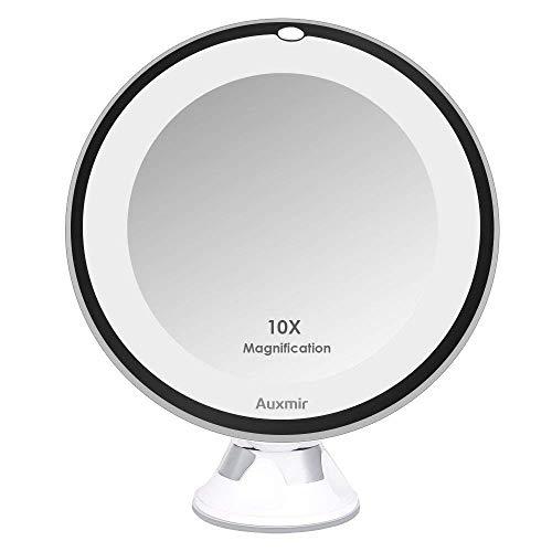 Auxmir Kosmetikspiegel LED mit Licht, 10X Vergrößerung, 16,5CM Spiegelfläche und Saugnapf, 360° Schwenkbar, Make-Up-Spiegel Schminkspiegel Beleuchtet mit Blendfreier Beleuchtung für Zuhause und Unterwegs