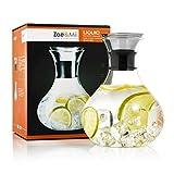 Zoë&Mii Premium 1.5L Glaskaraffe mit Edelstahl,Deckel,Wasserkaraffe,Karaffe,Gratis 21 Getrankerezeptekarten Glaskanne,Geschenke,Wasserkrug.