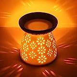 cmxing Duftlampe mit kerzenhalter Duftlampe aus Keramik Aromalampe Weiß