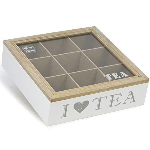 com-four Aufbewahrungsbox für Teebeutel - weiße Tee-Box aus Holz mit braunem Deckel - mit 9 Fächern und Sichtfenster aus Glas (01 Stück - 9 Fächer)