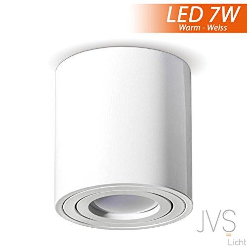 Aufbauleuchte Deckenleuchte Aufputz MILANO 7W LED Warmweiss GU10 Fassung 230V [rund, weiss, schwenkbar] Deckenleuchte Strahler Deckenlampe Kronleuchter aus Aluminium Spot
