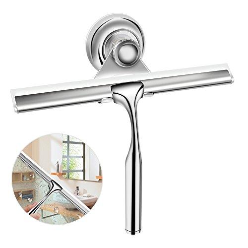 Duschabzieher Edelstahl Duschwischer mit Wandaufhänger ohne bohren Silikon-Wischlippe Fensterabzieher für Badezimmer Spiegel Fenster Glasreinigung