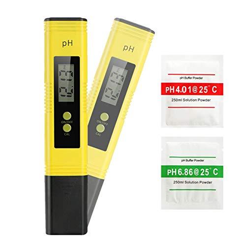 REIDEA PH-Messgerät,PH-Messgerät Digital,Hohe Genauigkeit +/- 0,01, 0-14 ph ATC pH-Wert Teststreifen für Wasser, Urin, Brauen, Aquarium, Pool, Pooltester Wassertester PH-Meter-Set (Gelb)